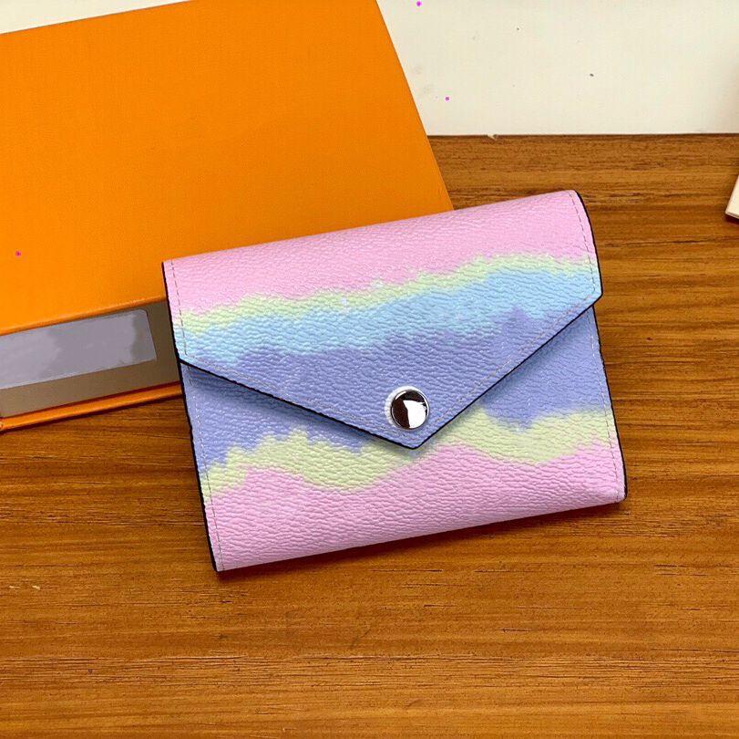 Кошелек Shibori Teas Teas Tear Convelope стиль женского лета 2020 новый кошелек с оранжевой подарочной коробкой розовый красный синий 3 цвета короткие 3-кратные кошельки