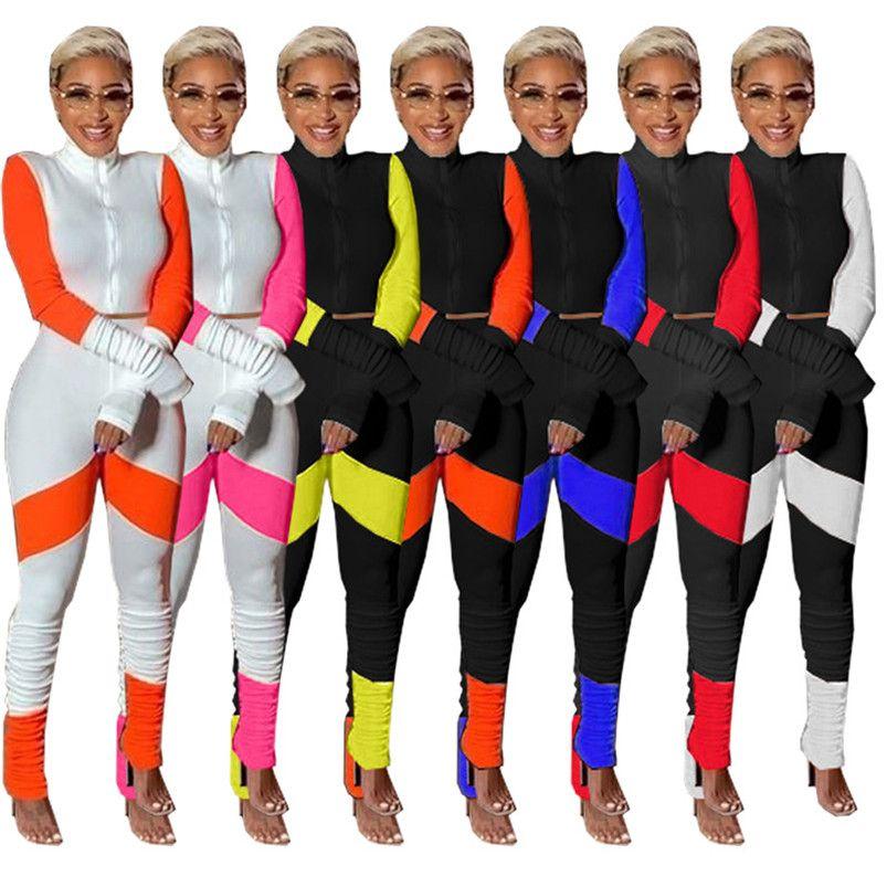 Femmes vestes à manches longues cardigan tenues 2 pièce ensemble sweat-shirt de costume de sport de jogging collants femmes costume sport zipper tops costume pantalon klw5355
