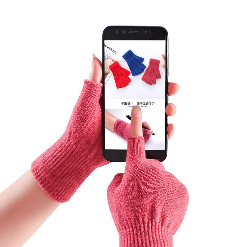 Guanti morbidi 1 coppie guanti mezzi caldo inverno a maglia Mittens solido velluto di colore senza dita All'interno Inoltre
