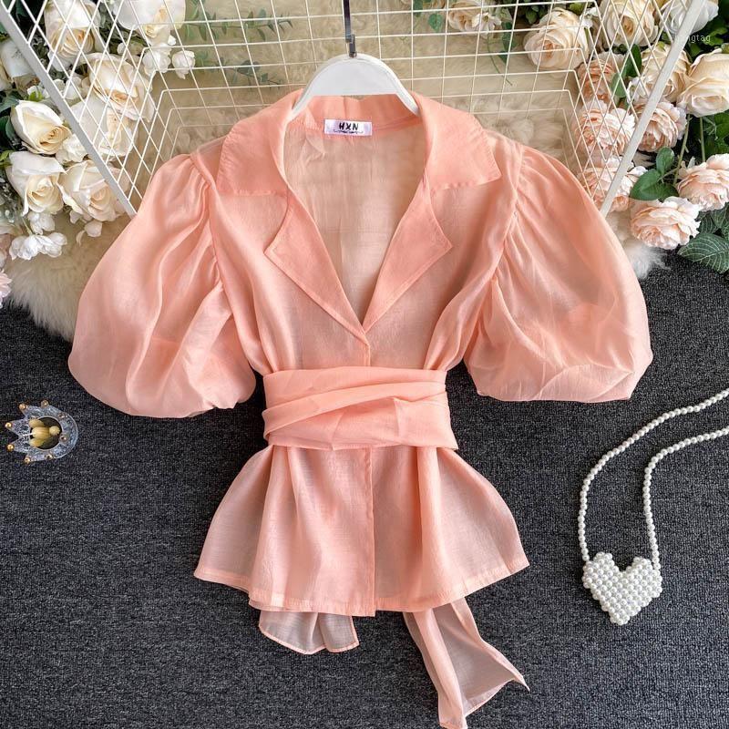 Chic Short Buff Studive Costume Collier Tops Dame Nouveau Mode Lacets à lacets Haute Taille Slim Shirt Femmes Blouse élégante N3921
