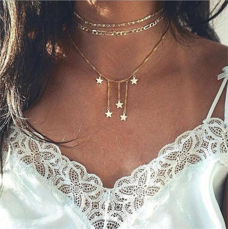 Çok katmanlı beş köşeli yıldız kolye yaratıcı retro basit üç katmanlı klavikula zincir kolye kadınlar kızlar için