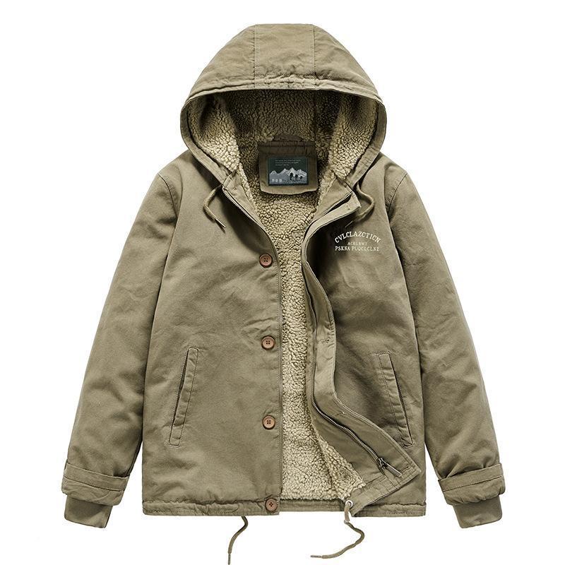 Dropshipping hiver épaissir des manteaux rembourrés en coton chauds chauds de la laine d'agneau à capuche à capuche surdimensionnée Homme et velouts rembourrés de velours