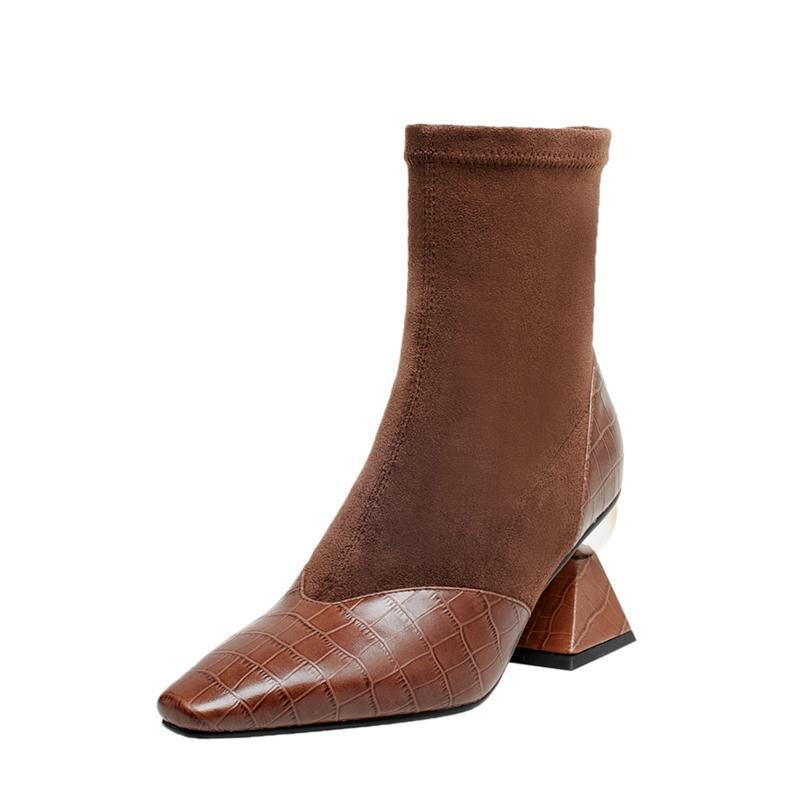 Qualidade estranhas botas de saltos altos tornozelo mulheres Popular retalhos de couro genuíno Wedding Party Botas Moda Feminina Sapatos Mulher