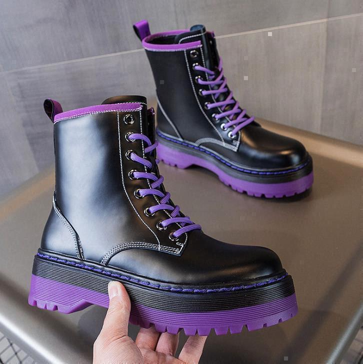 2021 moda mulheres botas plataforma de couro de camurça liso preto alta baixa sola botas pesadas melhor clássico sapatos sapatilhas boot 35-40E42C #