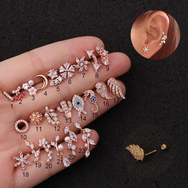 23 Styles 1Pc Gold Silber Farbe Edelstahl Cartilage Helix Schraube wieder Ohrring-Bolzen Cz Tragus Rook Conch Piercing-Schmuck