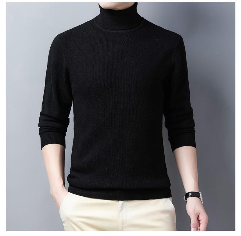 Высокий воротник свитер мужской осенью и зимой новый теплый свитер база 100% чистой шерсти мужские трикотажные