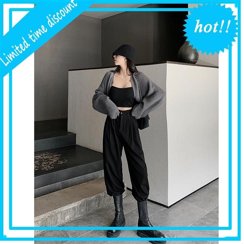 Черный серый комбинезон женская высокая талия стройная свободная прямая редька Harun Corset повседневная поникший смысл красивый костюм брюки