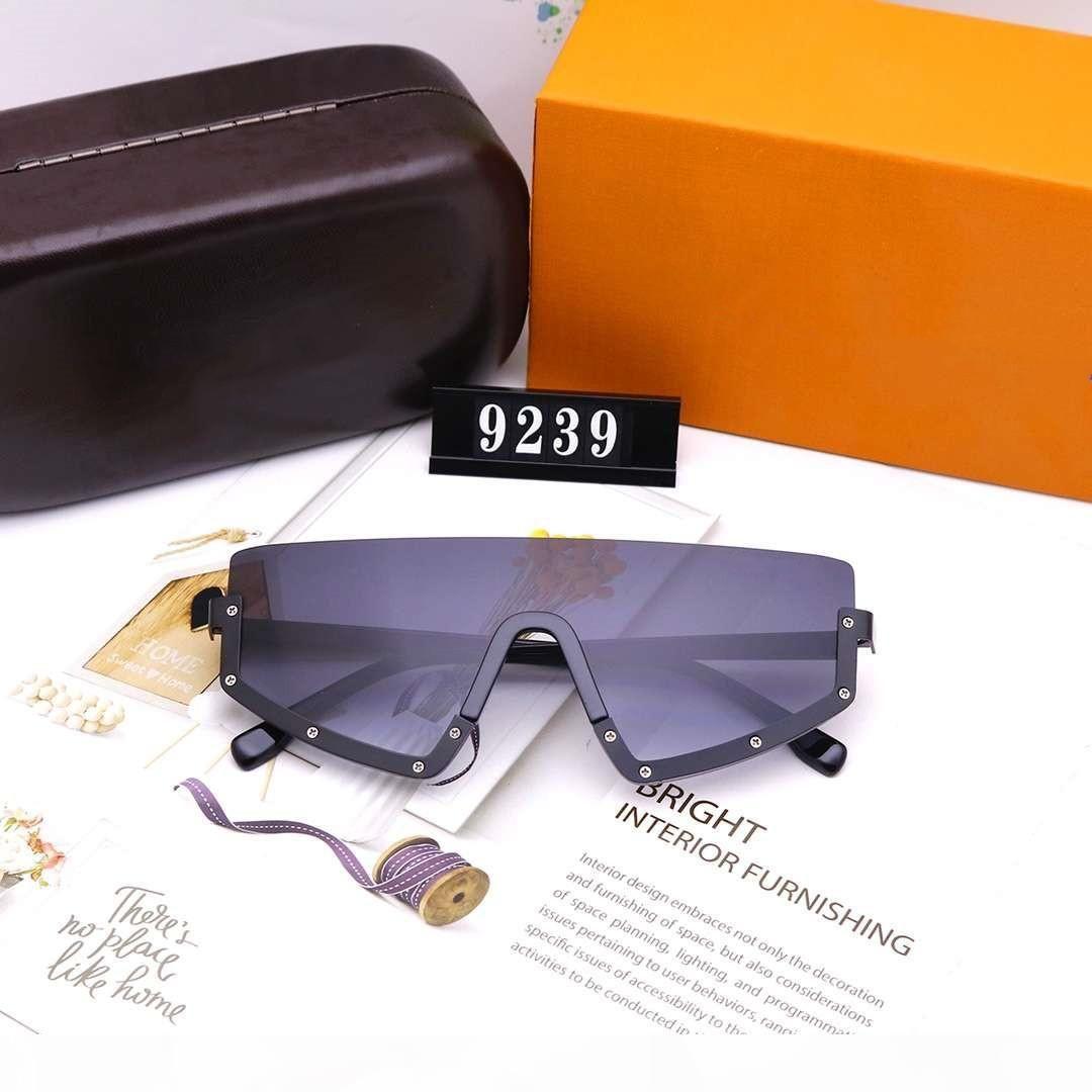 Mens женщина солнцезащитные очки и солнцезащитные очки Человек Женские Крупногабаритные Goggle Очки UV400 V Буквы 9239 6 Цвет высокого качества с коробкой