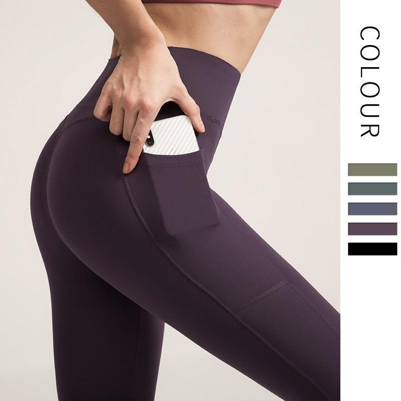 Novas mulheres de cintura alta ioga calças femininas calças de fitness não há linha de constrangimento esportes ginásio leggings tecido confortável qualidade tecido