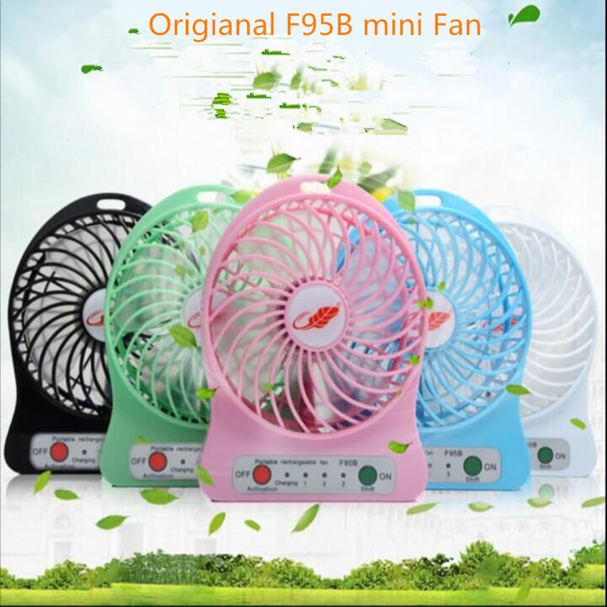 Mini Protable Fan F95B Çok Fonksiyonlu USB Şarj Cihazı Çocuk Masa Fan LED Işık 18650 Pil Ayarlanabilir 3 Hızlı Çok Renkli 10 adet / grup
