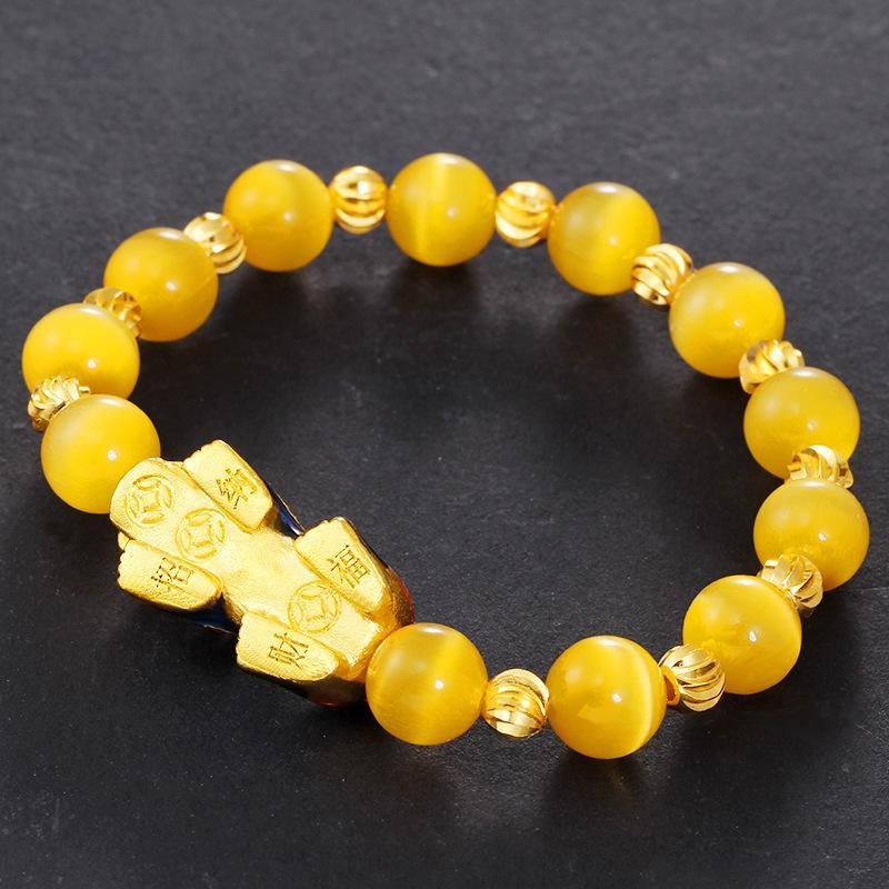 Popular Buddha pulseira de miçangas para casal Sorte Beads Natural Ágata Sorte Beads Imitação Pure Gold Bracelet Jóias