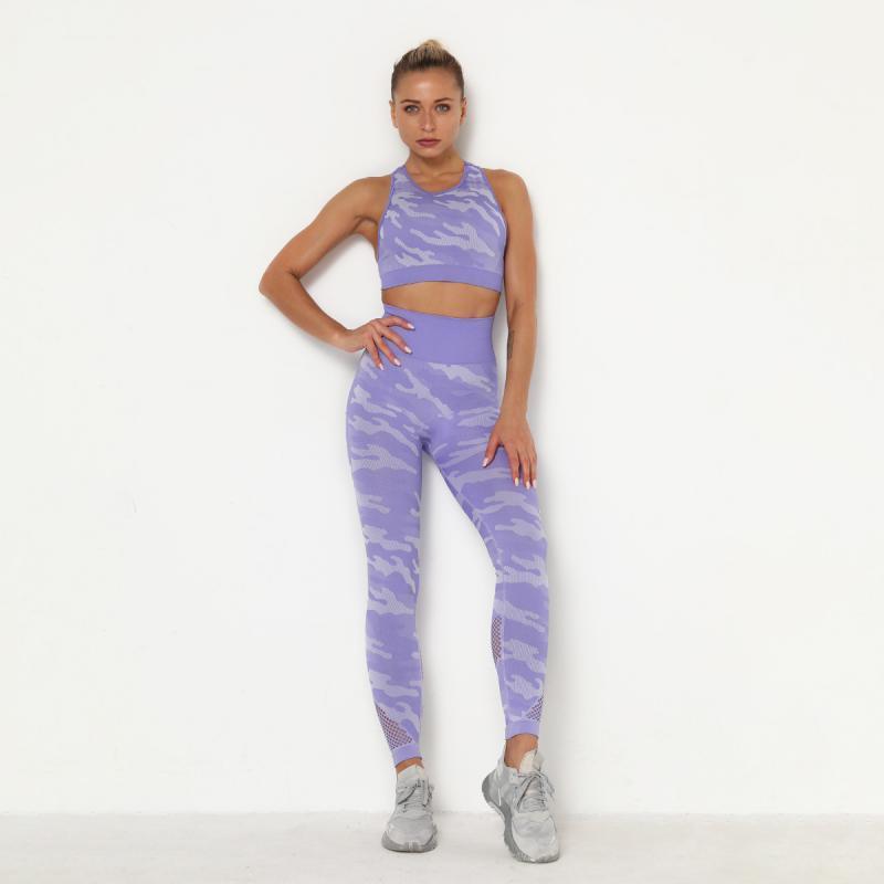 CHRLEISURE Frauen Camouflage Yoga Set Workout Gym Fitness Kleidung nahtlose drücken Leggings Sport-BH Yoga-Anzüge Sportswear