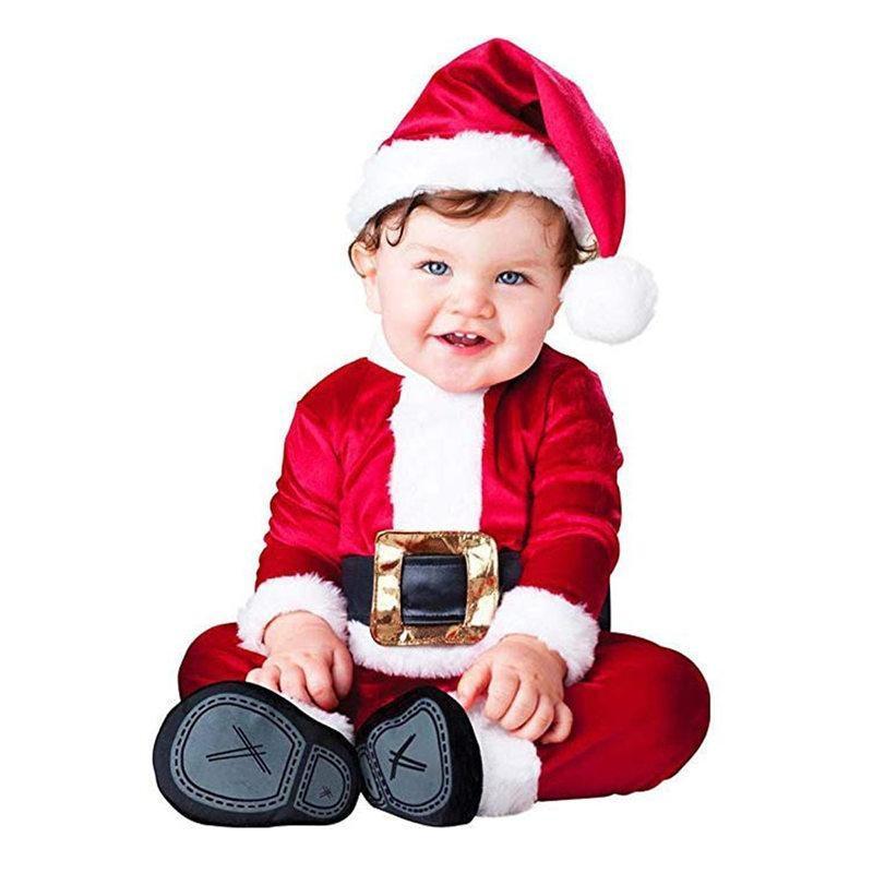 Vestiti del bambino di Natale 4PCS infante appena nato Baby Santa di Natale Top Pantaloni Cappello calzini Outfit Set costume inverno natale Abbigliamento U3