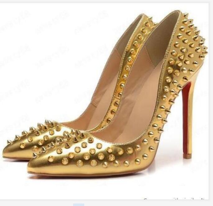 2020 Marka Ayakkabı Kırmızı Sloe Kadınlar Yüksek Topuklu Ayakkabı Pompaları Siyah Perçin Sivri Burun Ince Topuk Bayan Düğün Ayakkabı Alt Kırmızı 8 cm 10 cm 12 cm
