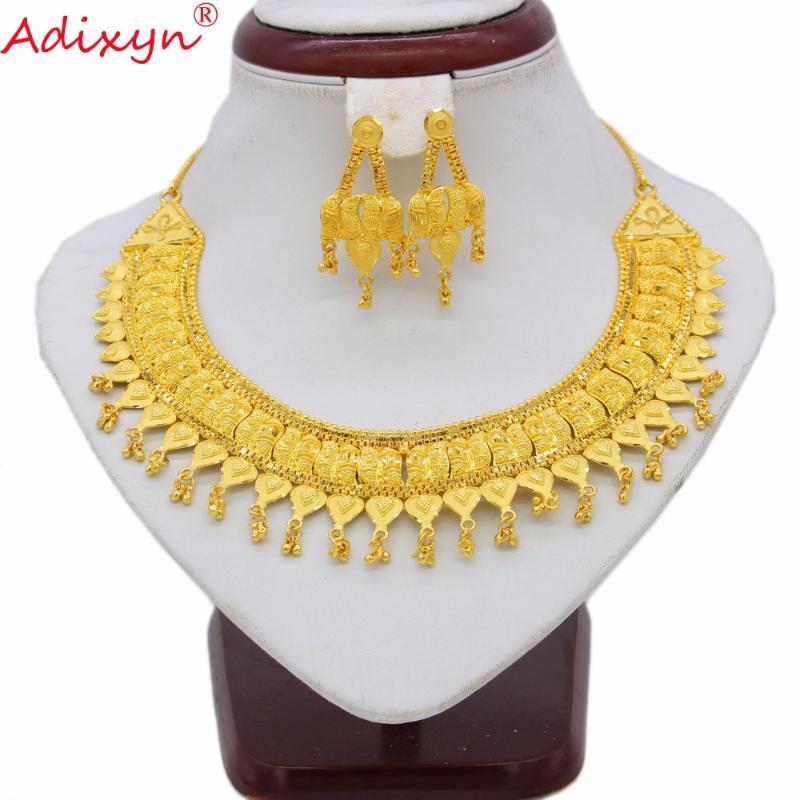 Adixyn Dois Desigh India Brincos De Colar Definir Jóias Mulheres Meninas Cor Do Ouro Romântico Árabe / Etiópia / Presentes Africanos N06229