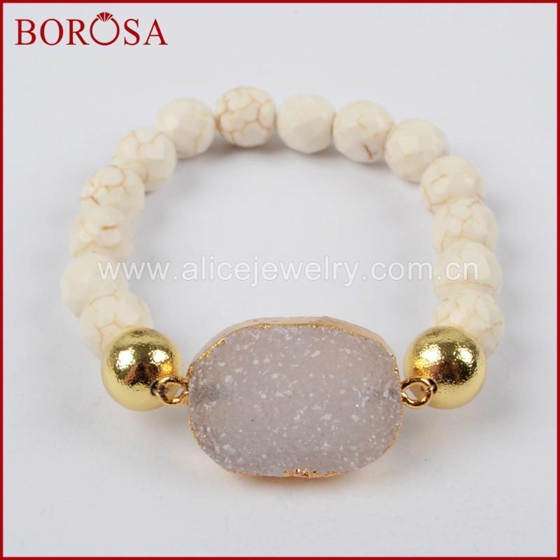 BOROŠA Ausverkauf 5PCS Goldfarben Natürliches Agates Druzy Mit facettiertem Weiß Howlith Stein Perlen Armband Schmuck G1398
