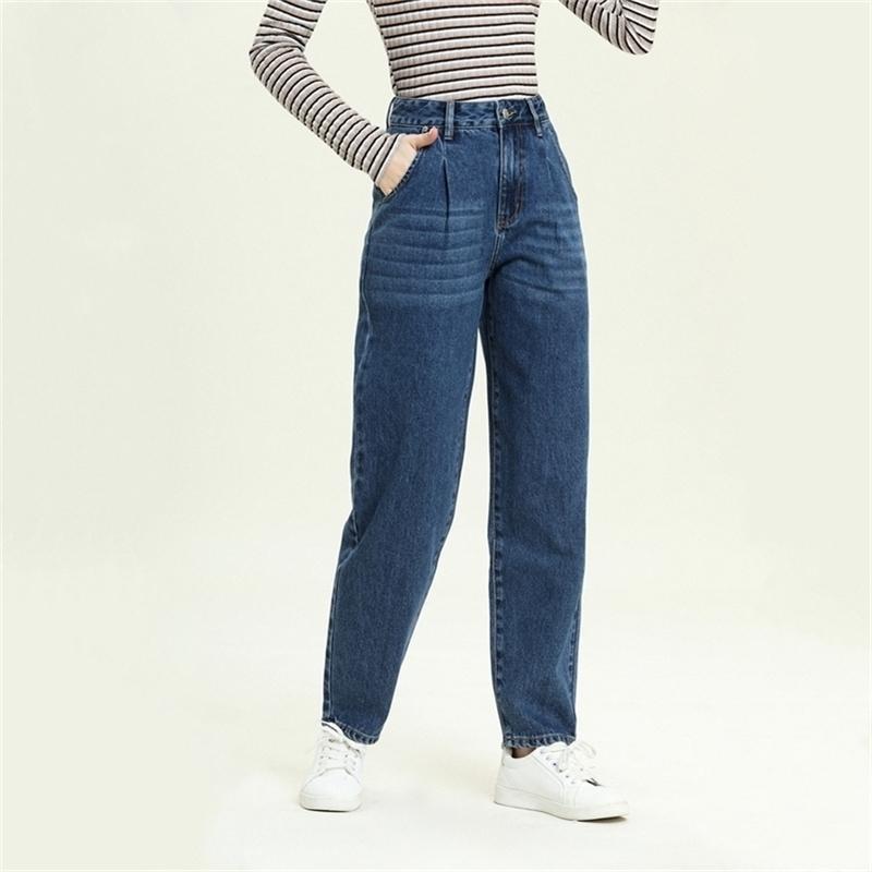 Harem Jeans Denim Pantalones sueltos para mujer Casual Pantalones Hemaros Otoño Invierno Azul Lavado Cintura Alta Pantalones 210203