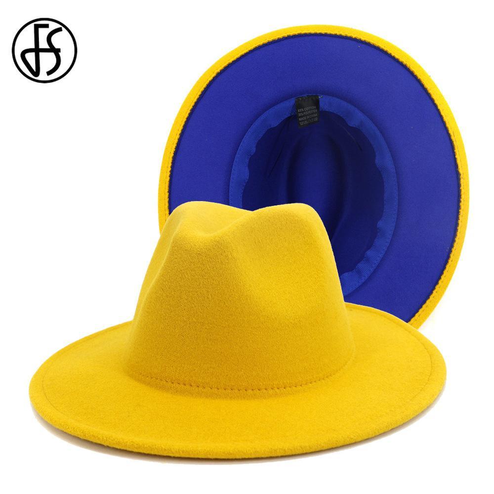 FS Fashion Yellow Royal Blue Patchwork Filz Hut Frauen Männer Breitrand Wolle Jazz Fedora Hüte Panama Trilby Cap Trend Gambler Hat 201028