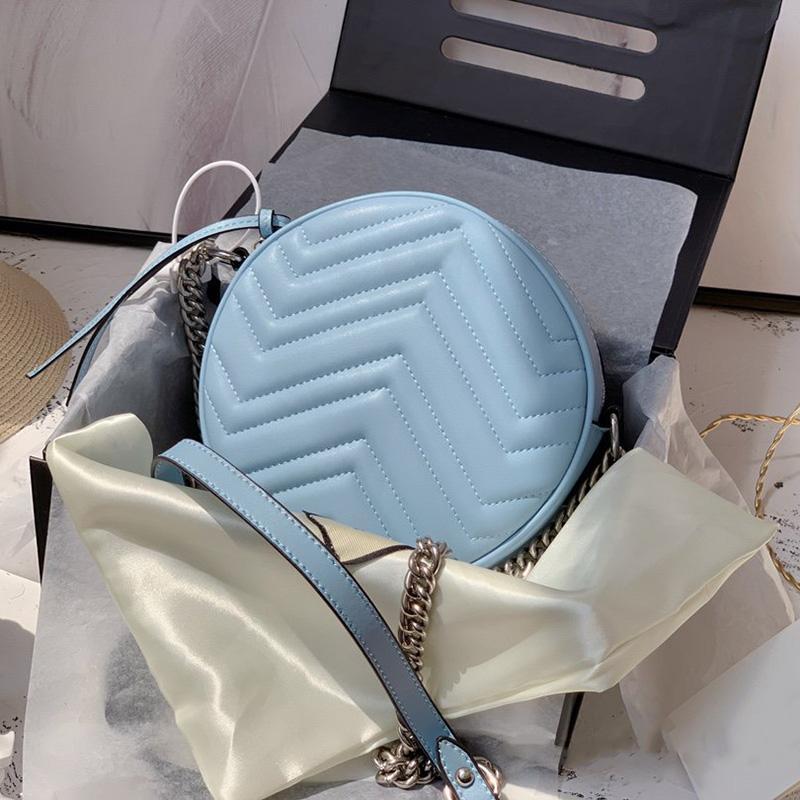 Mini bolsa Marmont Corazón redondo Damas de las señoras Bolsos de diseño Mujeres con Messenger Back Luxury Bolsos de hombro real de moda Caja de cuero PFTCI