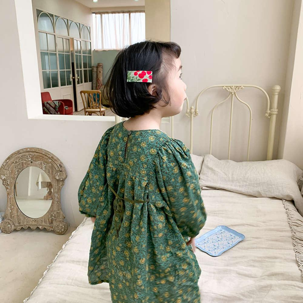 202 Spring New Girl Floral Lantern Falda para niños Long Sve Cuello redondo Prínculos DRS 073T99QQ
