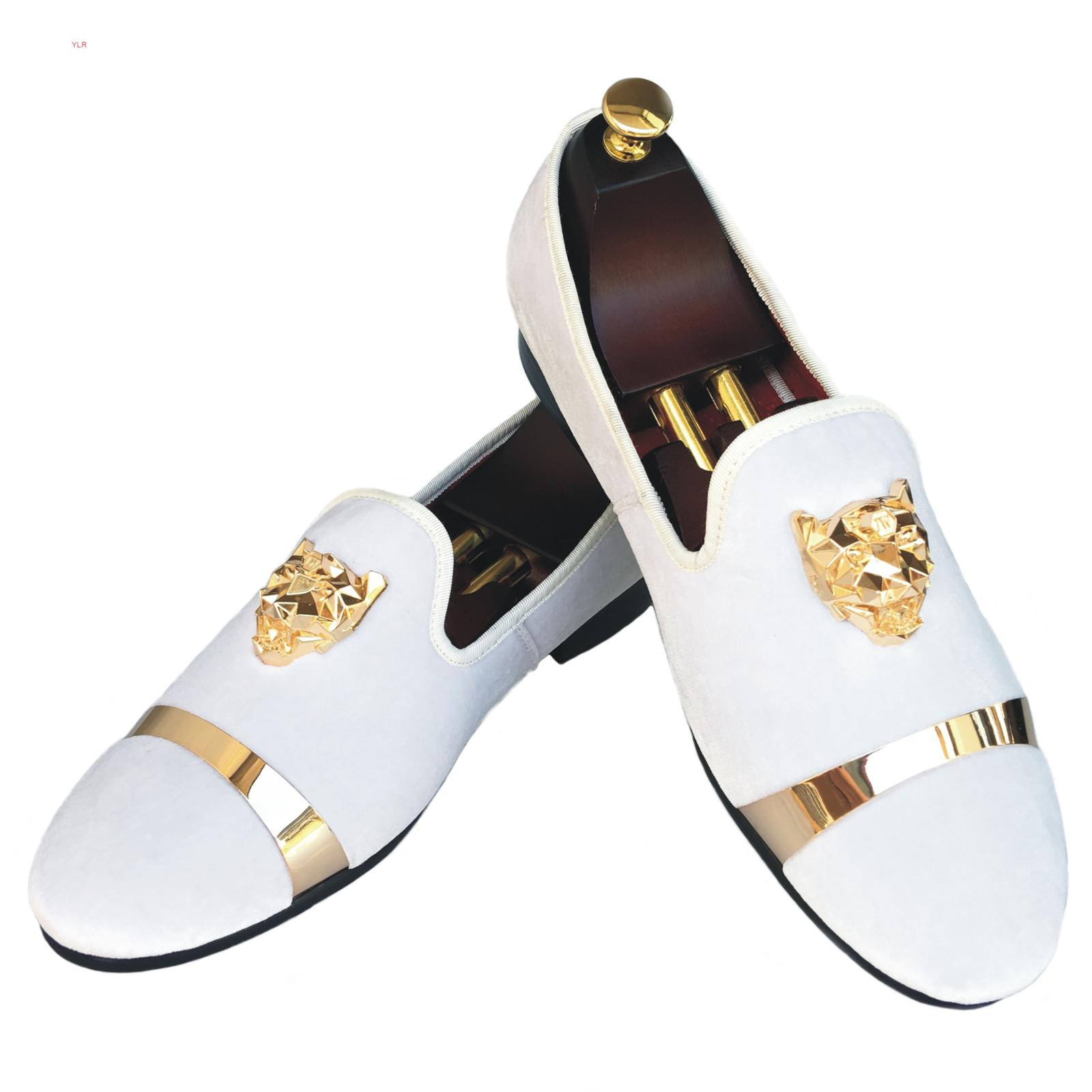 Main Velvet Mocassins hommes pantoufles avec boucle d'or robe de mariée Chaussures Slip-On avec Red Smoking Appartements Black Bottom WhiteT7YA