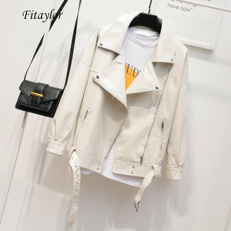 FitAylor Outono Mulheres Faux PU Jaqueta de Couro Macio Coleira Coleira Preto Punk Motocicleta Zipper Lote Jacket Outwear com Cinto 201028