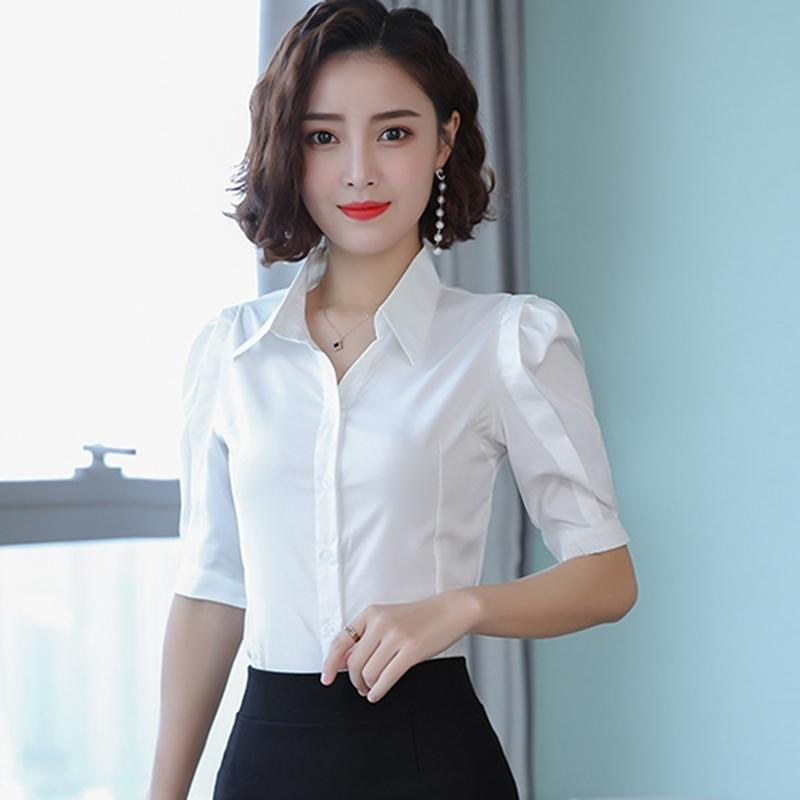 Camicie da donna coreana Camicia bianca Donna Plus Size Elegant Elegant Women V Neck Blouse Camicette da donna Top e camicette Blusas Mujer de Moda 201201
