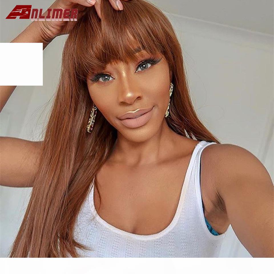 # 30 blonde longueur longue 13x6 dentelle frontale perruques de cheveux humains avec franges droites brésilien remy franges marron perruque brun anlimer