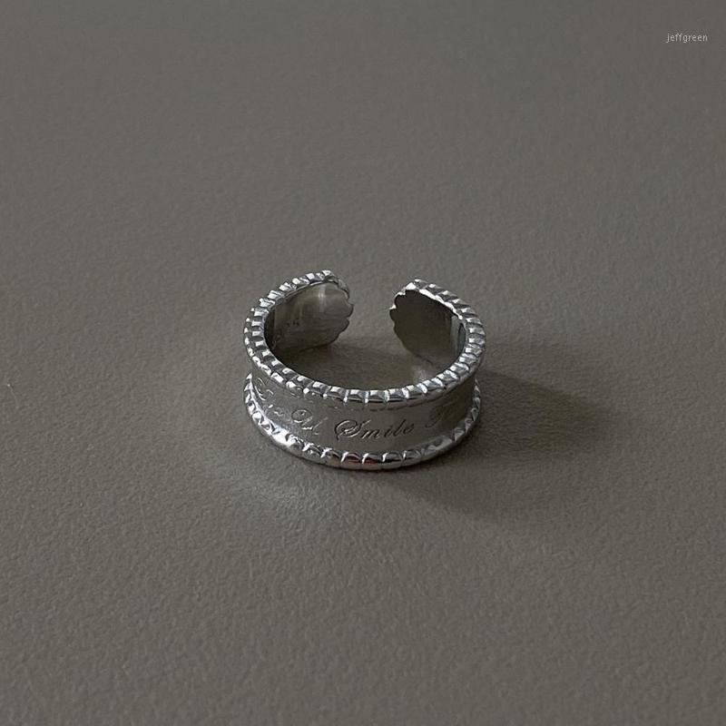 Ins Authentic S925 Sterling Sterling Silver By Jewelry Letters Inciso Linee di banda di personalità Anello Regola Anello TLJ8431