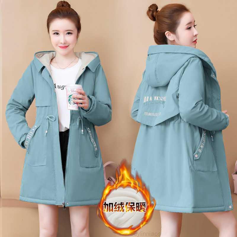 и средняя длинная осенняя ветровка с капюшоном весна 2020 новый зимний плюшевый утолщенный хлопок мягкая куртка женская мода
