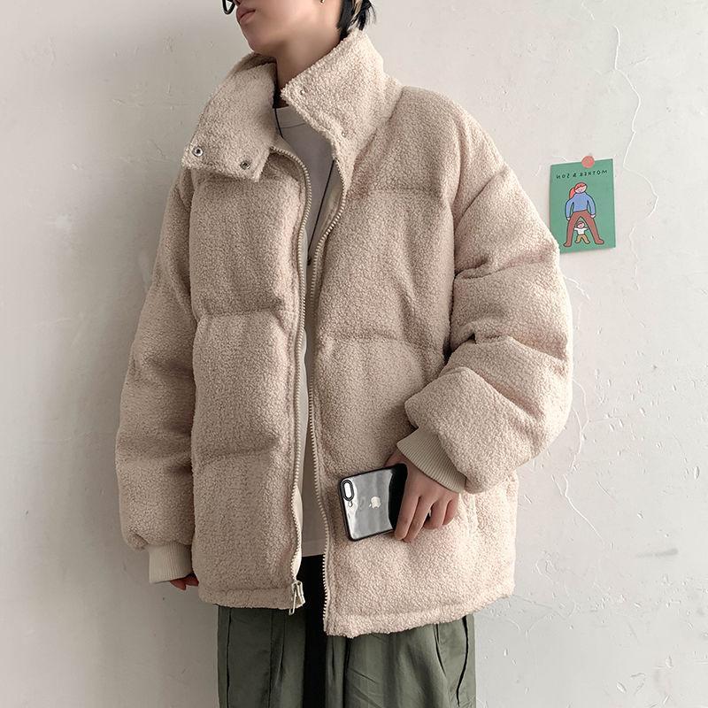 Winter Lamb Fur Parka Parka Moda Quente Retro Casual Casaco Curto Homens Streetwear Loose Algodão Roupas Mens Roupas