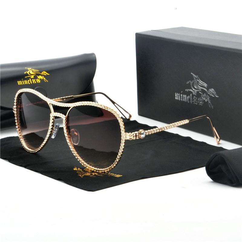 파일럿 선글라스 여성 장식 모조 다이아몬드 브랜드 디자이너 구리 프레임 클리어 렌즈 더블 브리지 태양 안경 FML