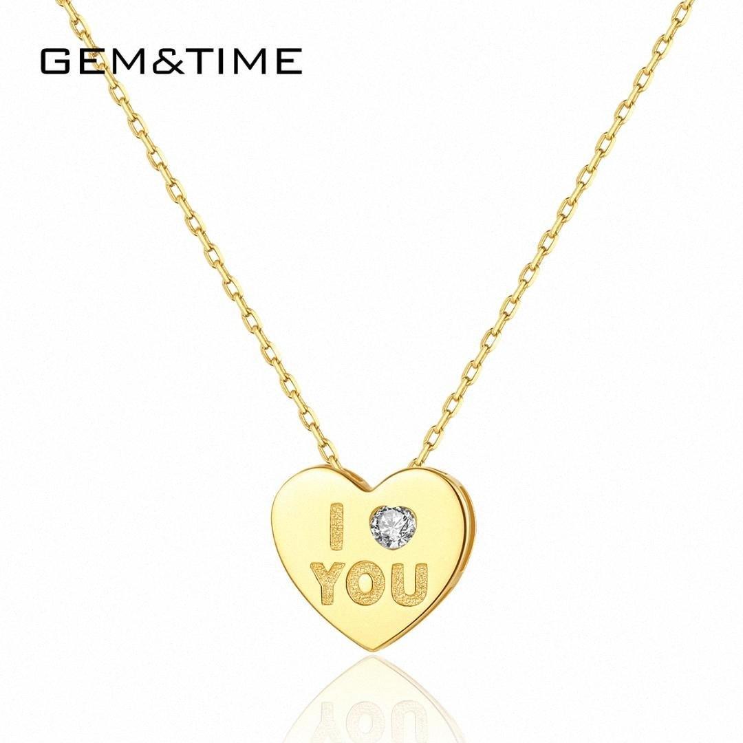 Collares de oro colgante GemTime amor del corazón 14k para la boda del compromiso de las mujeres en oro amarillo de joyería fina Colar De Ouro Pur N14132 EL7S #