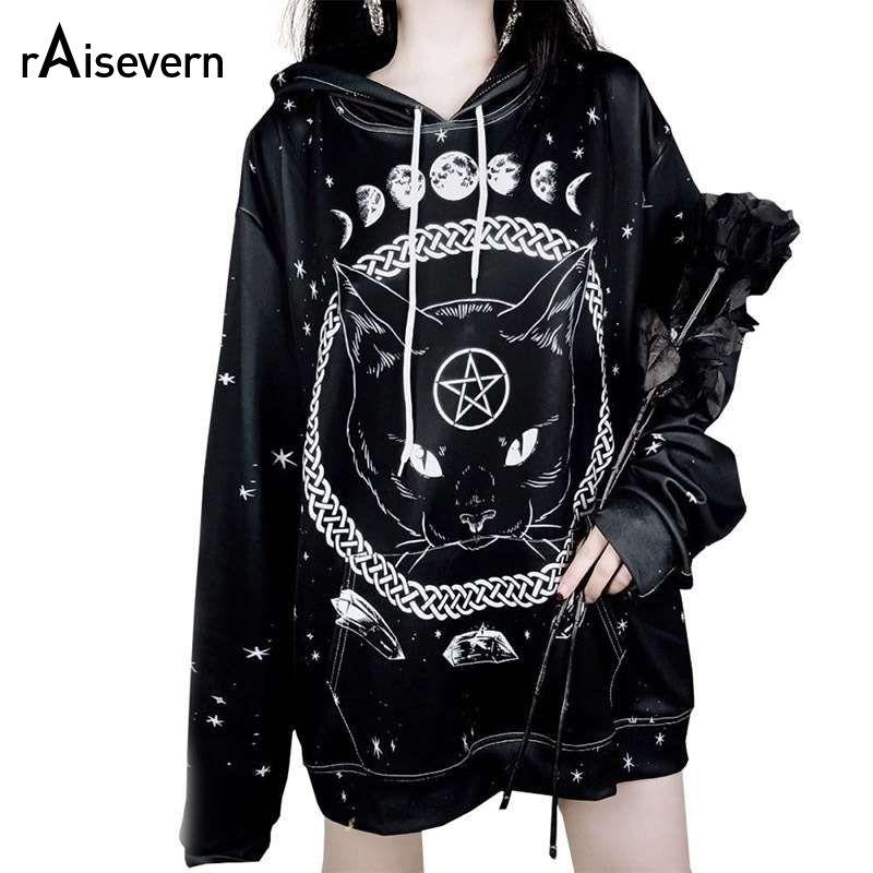 Raugevern Harajuku Punk Hoodie Pentagram Impresión Negro Sudaderas Góticas Streetwear Pullovers Manga larga Trajes con capucha Dropship Y200706