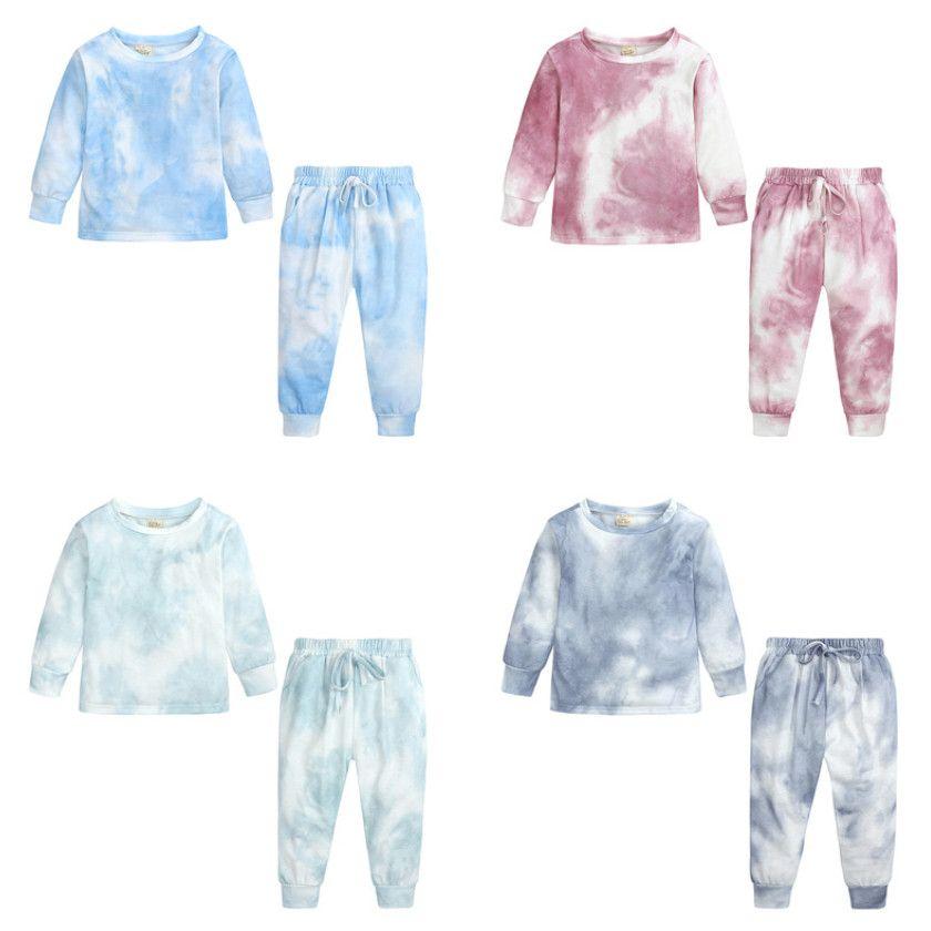 Niños Pijamas Sets Girls Boys Tie-Dye Impreso Nightwear + Pantalones 2pcs Sets Niños Sleepwear A5688