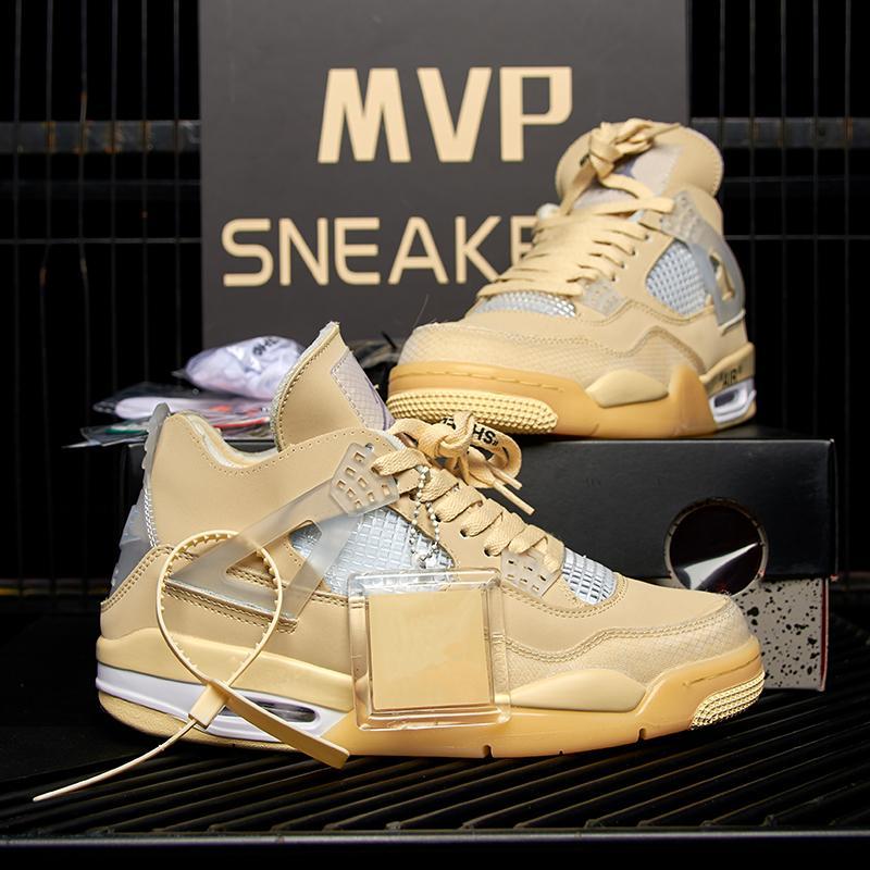2020 Nouveau Top Cream Voile Noir Chat Blanc Ciment Hommes Femmes Jumpman 4 4s Chaussures de basket Cactus Jack Hommes Baskets Chaussures de sport Size36-46