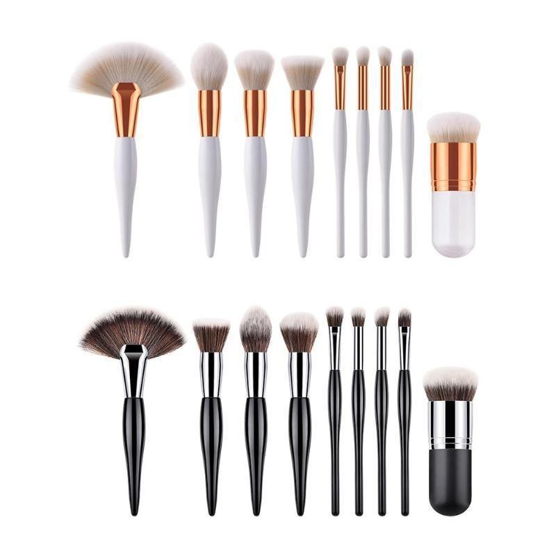 9pcs / set criativas escovas Madeira cabelo macio Handle Sombra Fan Plano Forma Escovas Set Kit Acessórios Makeup Tools