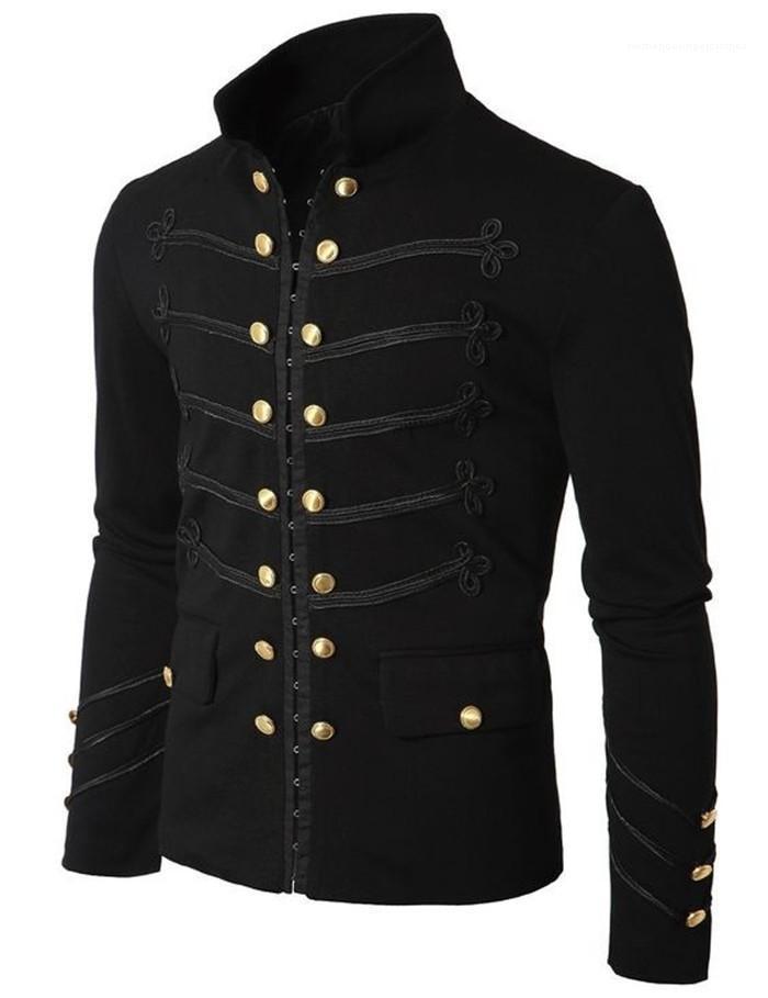 Beiläufige Kleidung der Männer Stehkragen Jacke zweireihiger Langarm Slim Fit Coats Männlich