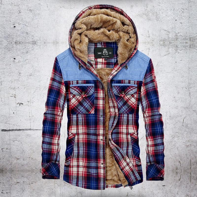 Зимние рубашки Мужчина руно Толстого теплые с капюшоном повседневных рубашек плед Pure Рубашки Хлопка Мужской сорочка Ьотта Размер M-XXXL Dropshipping 201012