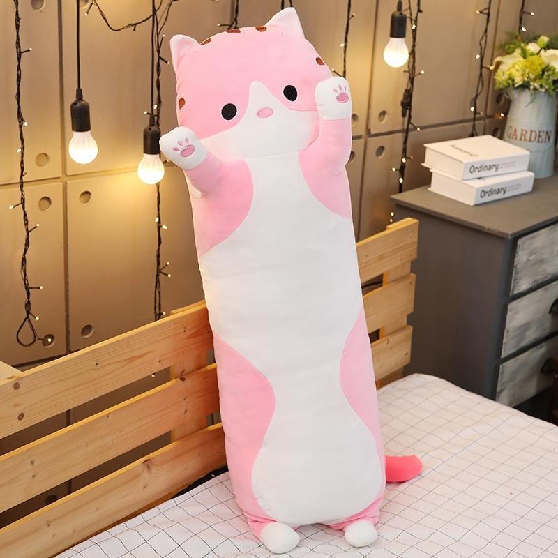 Kedi uyku yastık uzun 1011 70-110cm rahat sevimli büyük oyuncak bebek üzerinde sevimli bebek bebek kız peluş oyuncak tembel adam yatak yastık