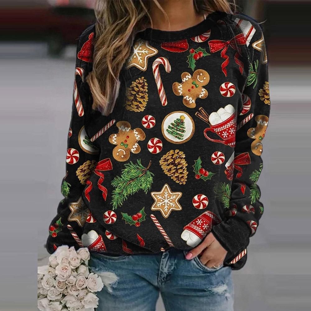 Новый год Рождество Hoodie мультфильм печати круглый шею длинными рукавами руно вскользь фуфайки способа зимы Cute пуловер Lady Y1114