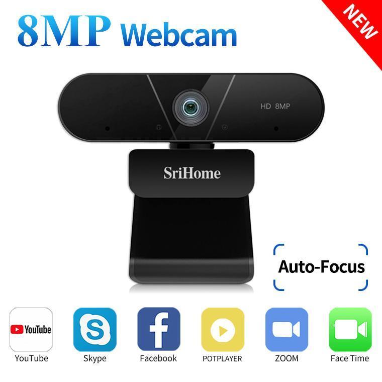 كاميرات Srihome 4K FHD 8MP كاميرا ويب مع التركيز التلقائي الميكروفون المزدوج، وسائط USB لمؤتمر VDEO، شبكة حية، التعلم عن بعد