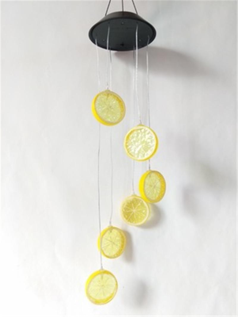 Led Solar Wind Chime Zitrone Licht Multicolor hängende Dekoration Wasserdicht Nachtfarbwechsel Solarleuchte H400