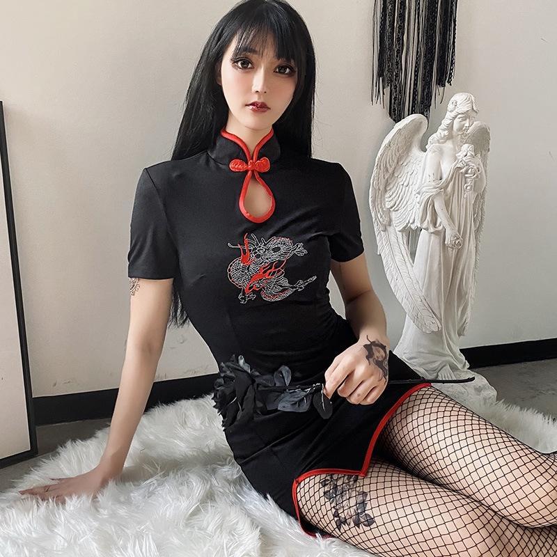 I3JOI 92196 Темная тяжелая промышленность Дракон замшевой вышивки Cheongsam женское платье темперамент новая стройная юбка вышитая стройная юбка мира