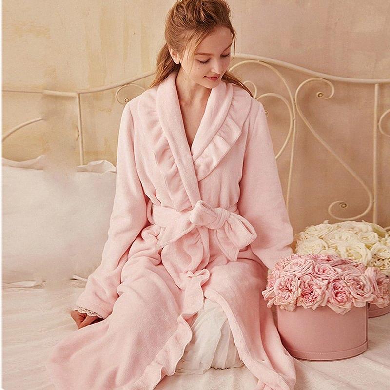 Autunno Inverno Donne Pigiameria flanella Robe addensare Ruffle Pajamas.Lolita Lady accappatoi camicia da notte Robes Vestaglia Pigiama Y2004 01oH #