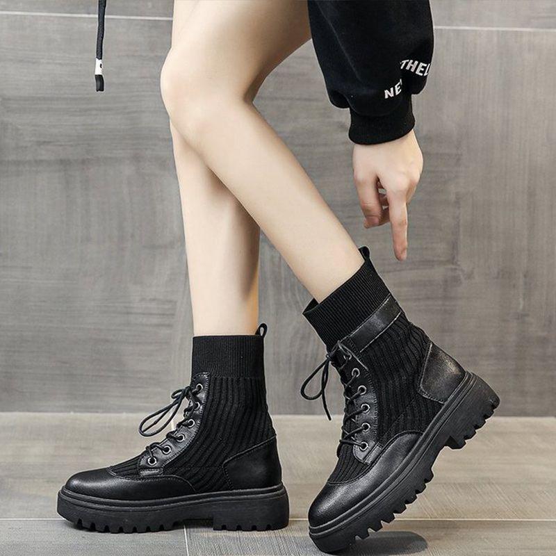 Damen Stiefeletten Damenschuhe Weibliche Kreuz Gebunden nicht Beleg Solid Black Schuhe für Frauen PU-Leder pendeln bequeme beiläufige