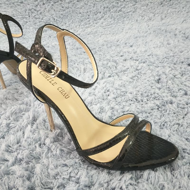 Sandales Sexy Black Snakekin High Heel Heel Robe Party Femmes Summer Open Toe Bande Strap Stiletto 11cm Chaussure1