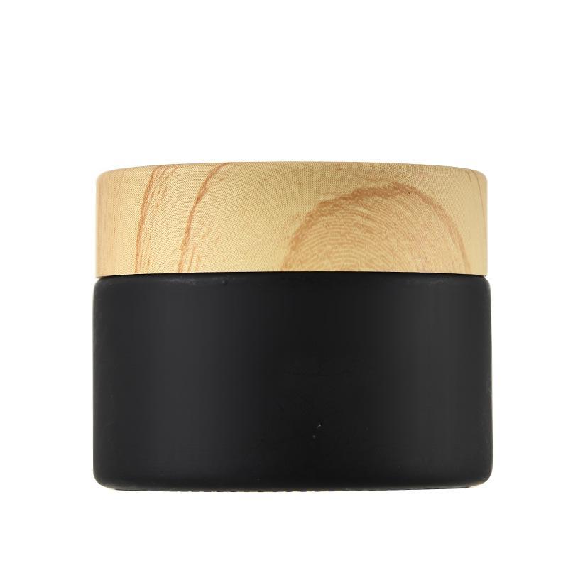 Verre vide Cosmétiques Consults Faire face Crème Maquillage Maquillage Voyage Portable Bouteille en bois Couvercles de grains Bocal Stockage Gébert Black Lady Sale 2 2GJ G2