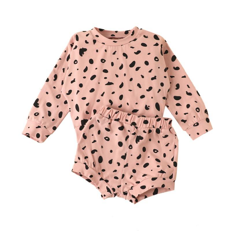 Baby Girl Boy Clothes Spring Summer Autumn Polka Dot O-Neck Long Sleeve T-Shirt And Shorts Clothes For Girls Boys 0-24Months