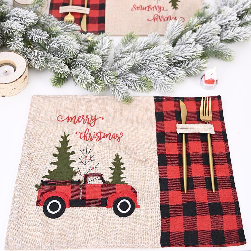 Ev Noel Masa Dekorasyon EWA1986 Yemek Noel Süsleri Noel ağacı Kırmızı Kamyon Placemats Masa Mat Kış Buffalo Ekose Placemat